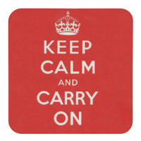 """View Item """"Keep Calm And Carry On"""" Single Coaster"""