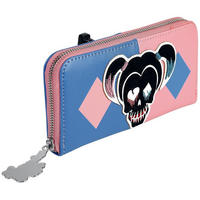 Large Blue & Pink Harley Quinn Skull Zipped Purse