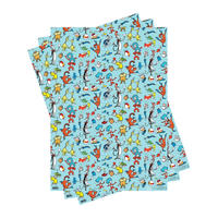 3 Sheets of Dr Seuss Characters Gift Wrap
