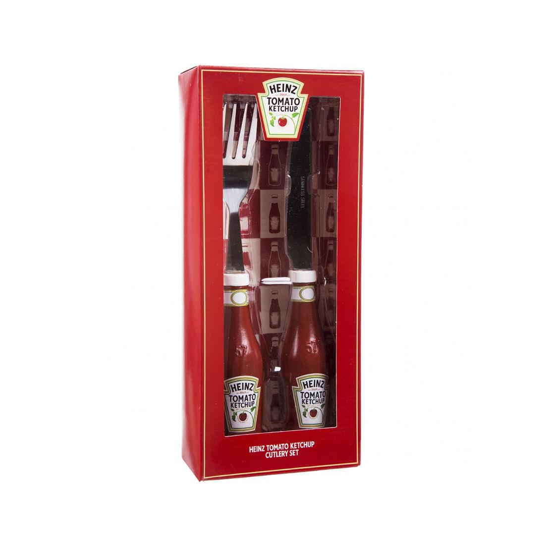 Heinz Tomato Ketchup Cutlery Set Knife Fork Red Bottle 3d
