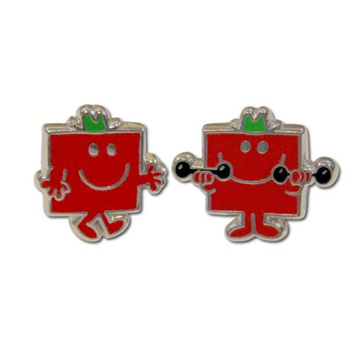 NEW MR MEN MR STRONG CUFFLINKS STEEL ENAMEL RETRO VINTAGE NOVELTY MENS GIFT BOX
