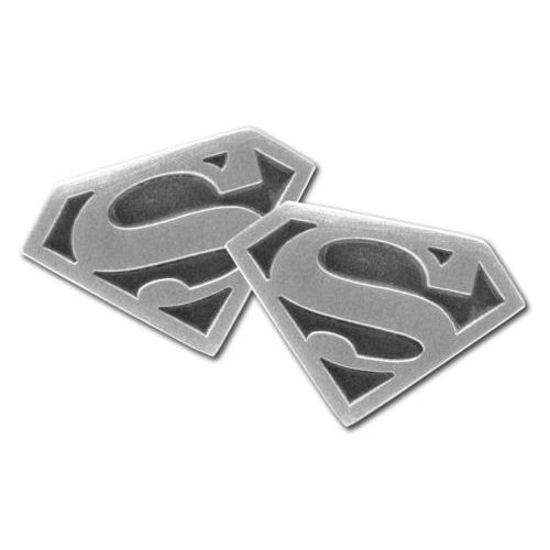 RHODIUM SUPERMAN LOGO CUFFLINKS RETRO VINTAGE DC COMICS