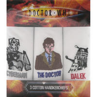 Doctor Who Cyberman, The Doctor, & Dalek Pack Of 3 Hankies
