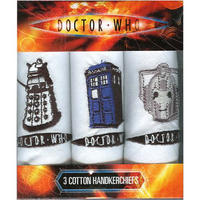 Doctor Who Dalek, Tardis, & Cyberman Pack Of 3 Hankies