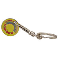View Item Rainbow Logo Shopping Trolley Token/Coin Keyring