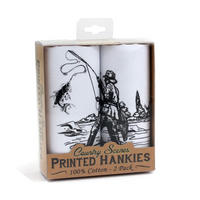 2 Pack Of Fishing Scene Hankies