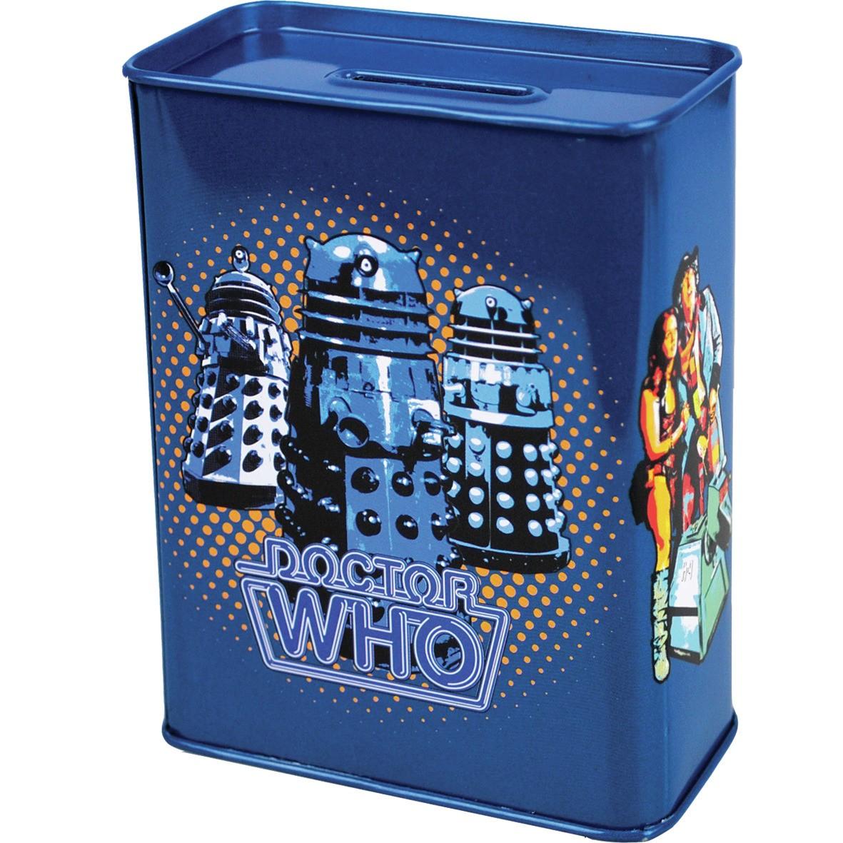New doctor who metal money box tin piggy bank daleks k9 ebay - Tardis piggy bank ...