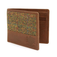 Harris Tweed Olive & Tan Tartan Leather Wallet
