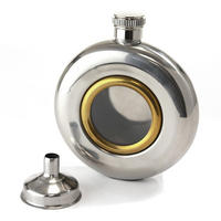 Round Window Hip Flask With Funnel