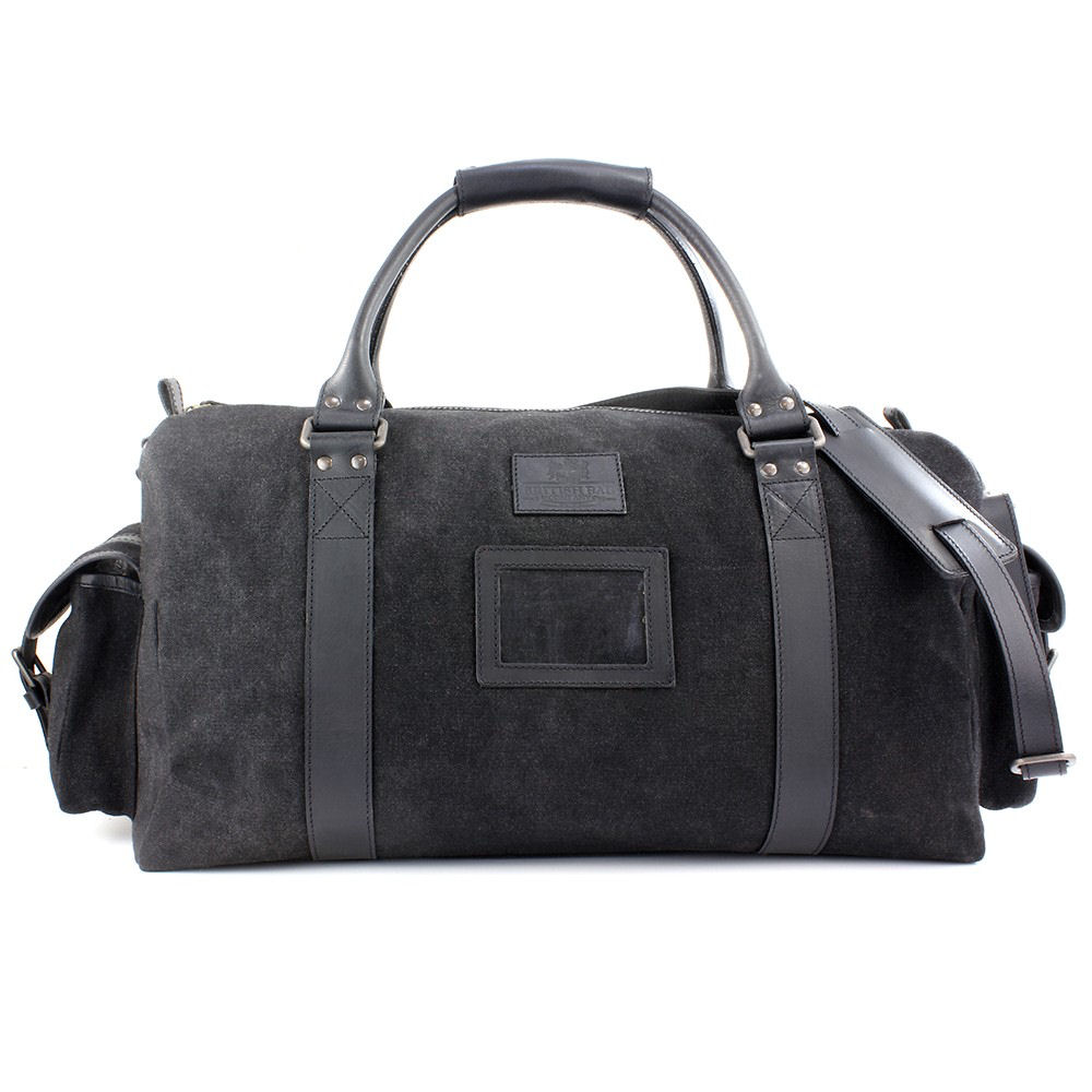 Stoere Canvas Tassen : Black navigator waxed canvas real leather overnight bag