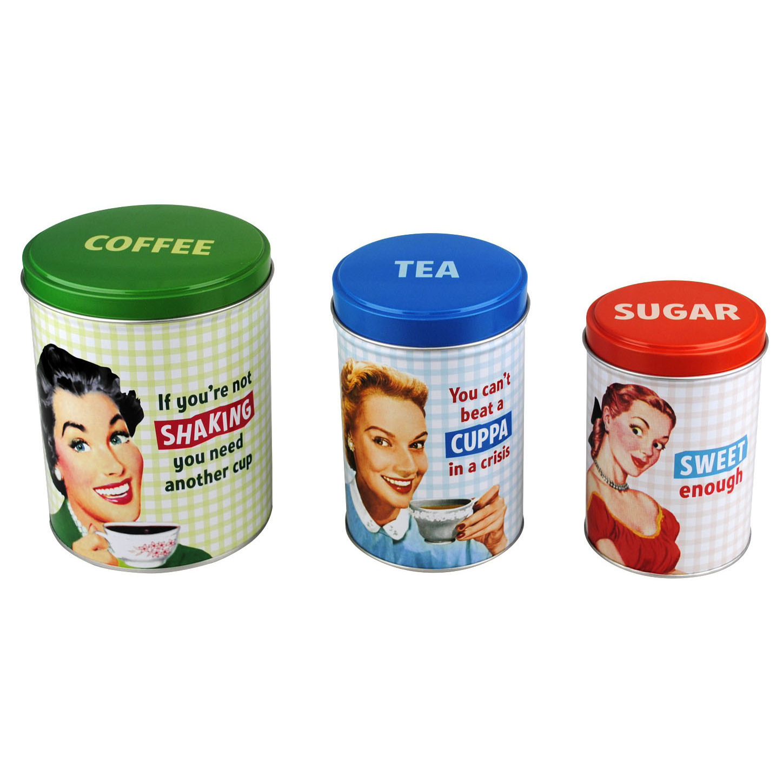 new tea coffee sugar canisters jar retro kitchen storage