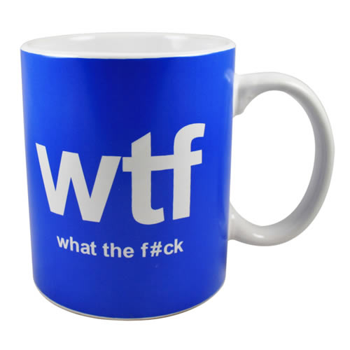 NEW WTF WHAT THE F*CK BOXED MUG TEXT SPEAK OFFICE HUMOUR SMS CUP CERAMIC GIFT
