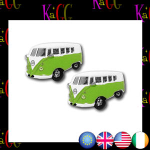 NEW GREEN VW CAMPER VAN CUFFLINKS RETRO VINTAGE NOVELTY MENS
