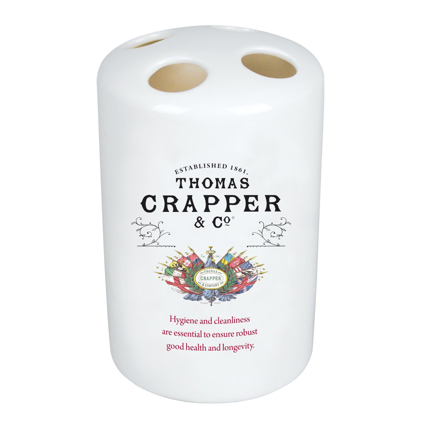 NEW CERAMIC THOMAS CRAPPER TOOTHBRUSH HOLDER VINTAGE ADVERT OPIE SHABBY CHIC