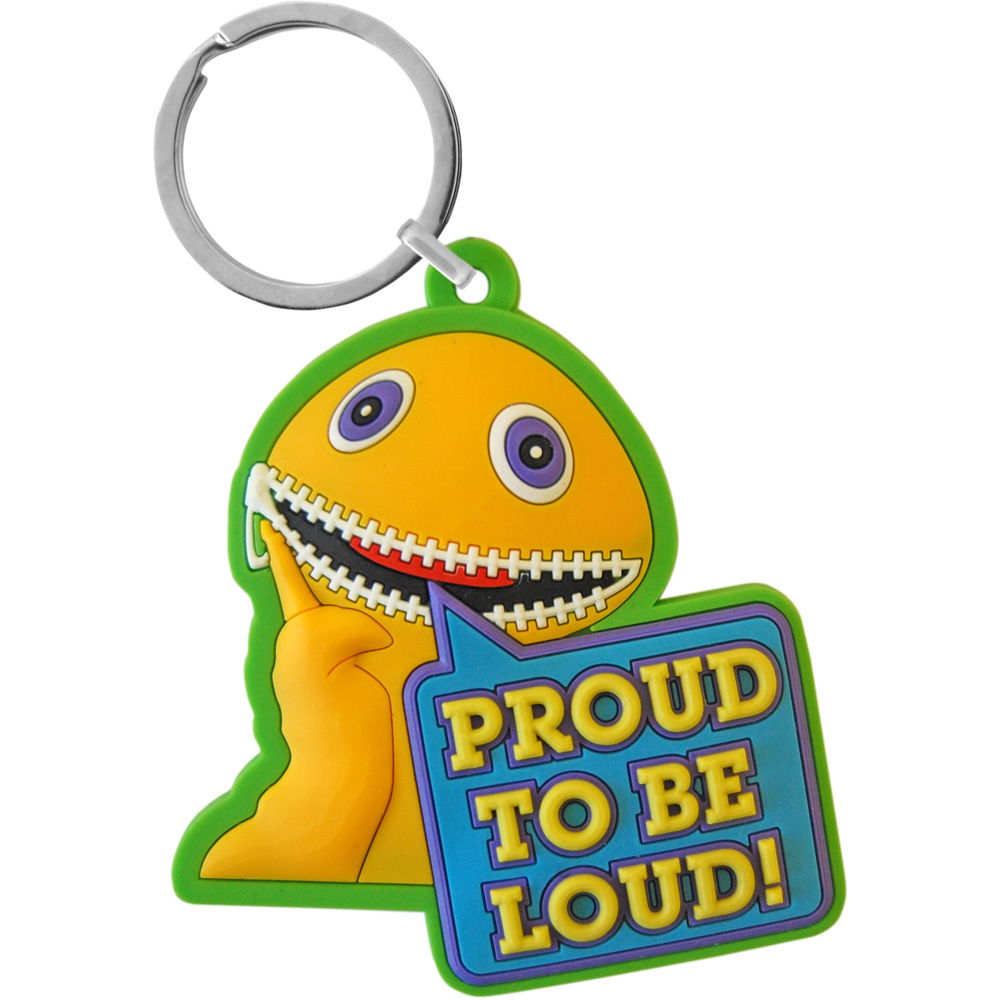 NEW ZIPPY PROUD TO BE LOUD PVC KEYRING RAINBOW METAL LOOP RETRO KEYCHAIN GIFT