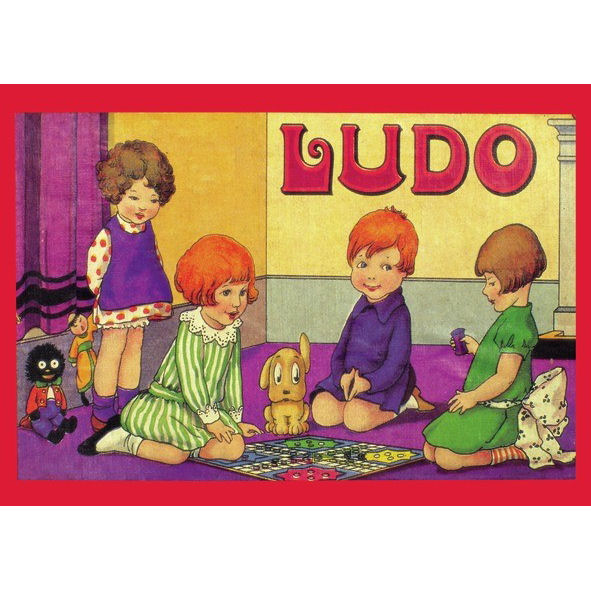 NEW LUDO RETRO POSTCARD OFFICIAL VINTAGE IMAGE ROBERT OPIE BOARD GAME NOSTALGIA