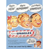 New Peppermint Spangles Wartime Postcard