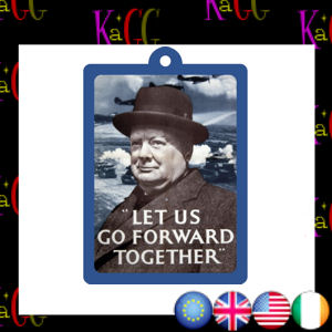 NEW WINSTON CHURCHILL METAL KEYRING VINTAGE ROBERT OPIE AD WW2 WAR