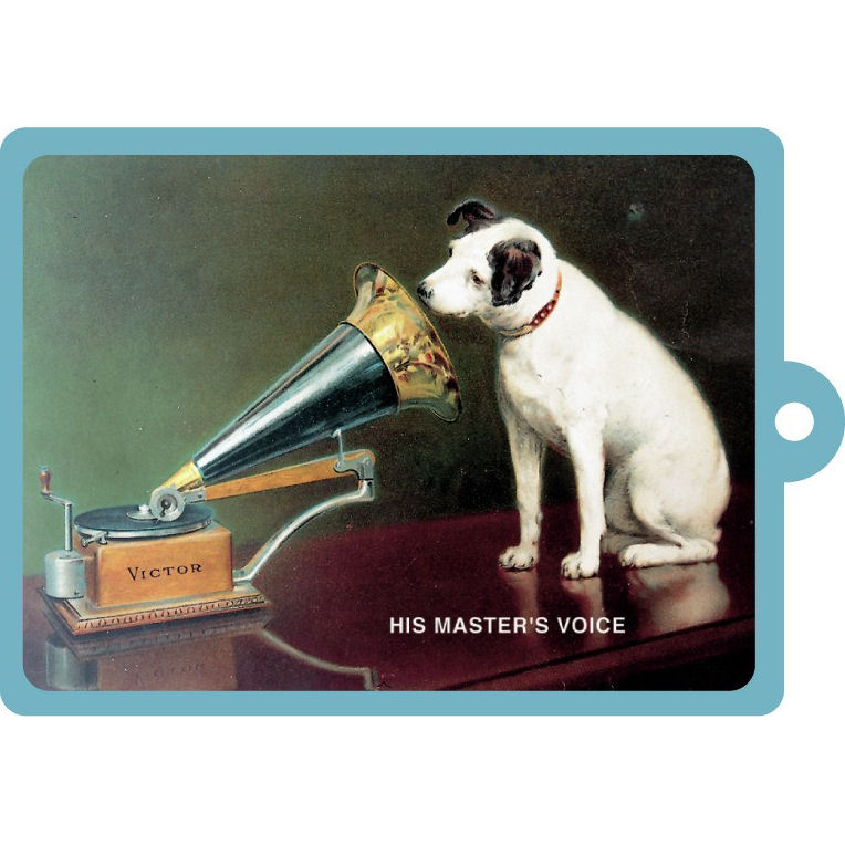 NEW HMV HIS MASTERS VOICE METAL KEYRING VINTAGE ROBERT OPIE AD DOG