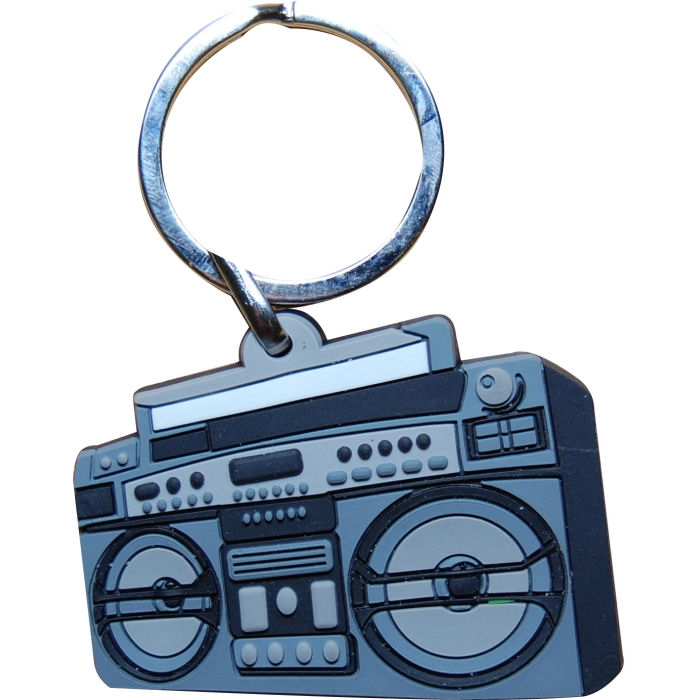 NEW GHETTOBLASTER BOOM BOX PVC KEYRING 80s RETRO OLD SCHOOL NOVELTY GIFT FOB
