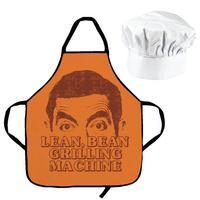"""Mr Bean """"Lean Bean Grilling Machine"""" Cotton Apron & Chef's Hat"""