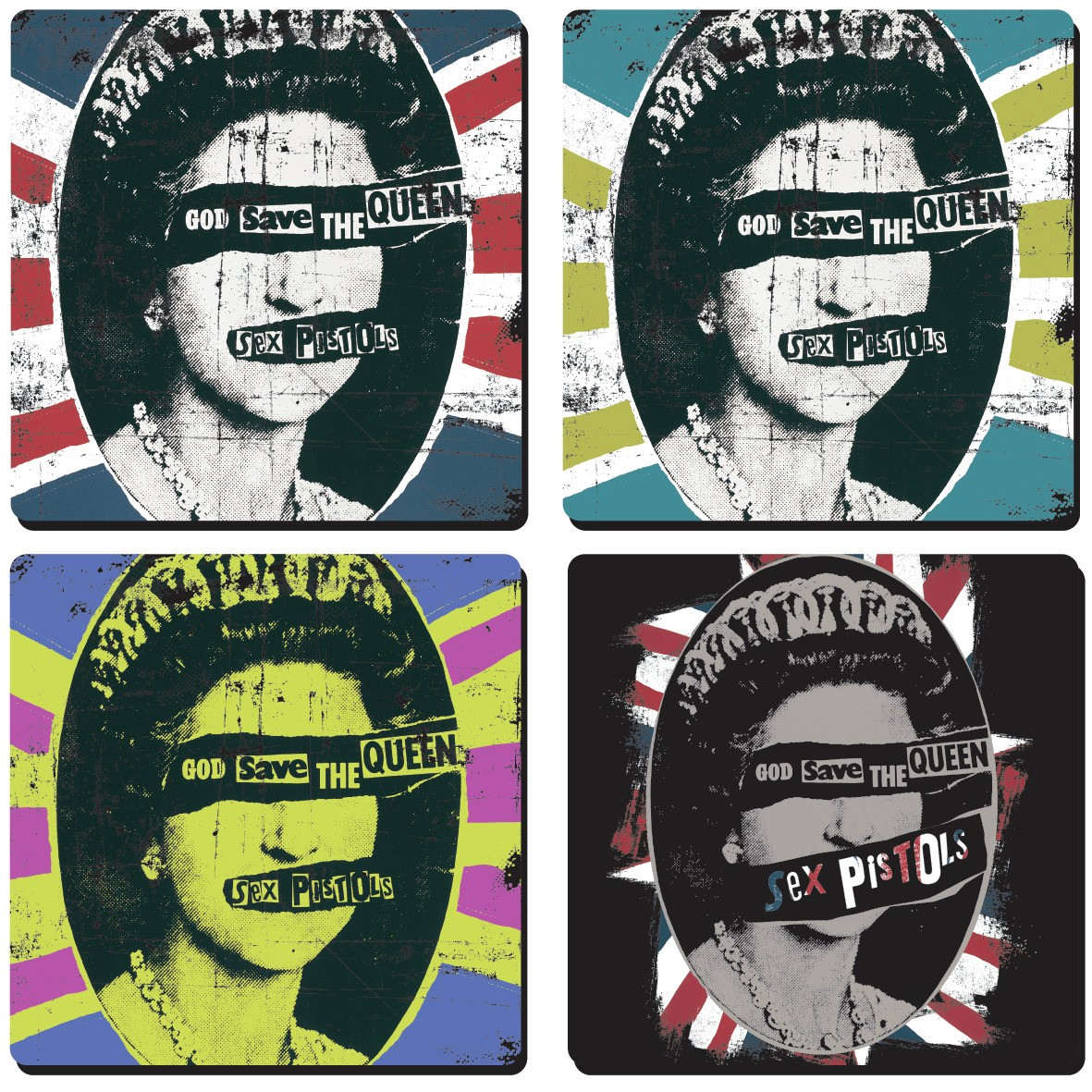 Sex Pistols God Save The Queen Coaster Set (4 Coasters) .