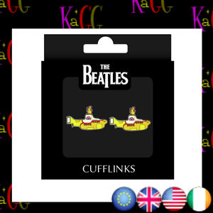 NEW THE BEATLES YELLOW SUBMARINGE CUFFLINKS RETRO STEEL ENAMEL LENNON