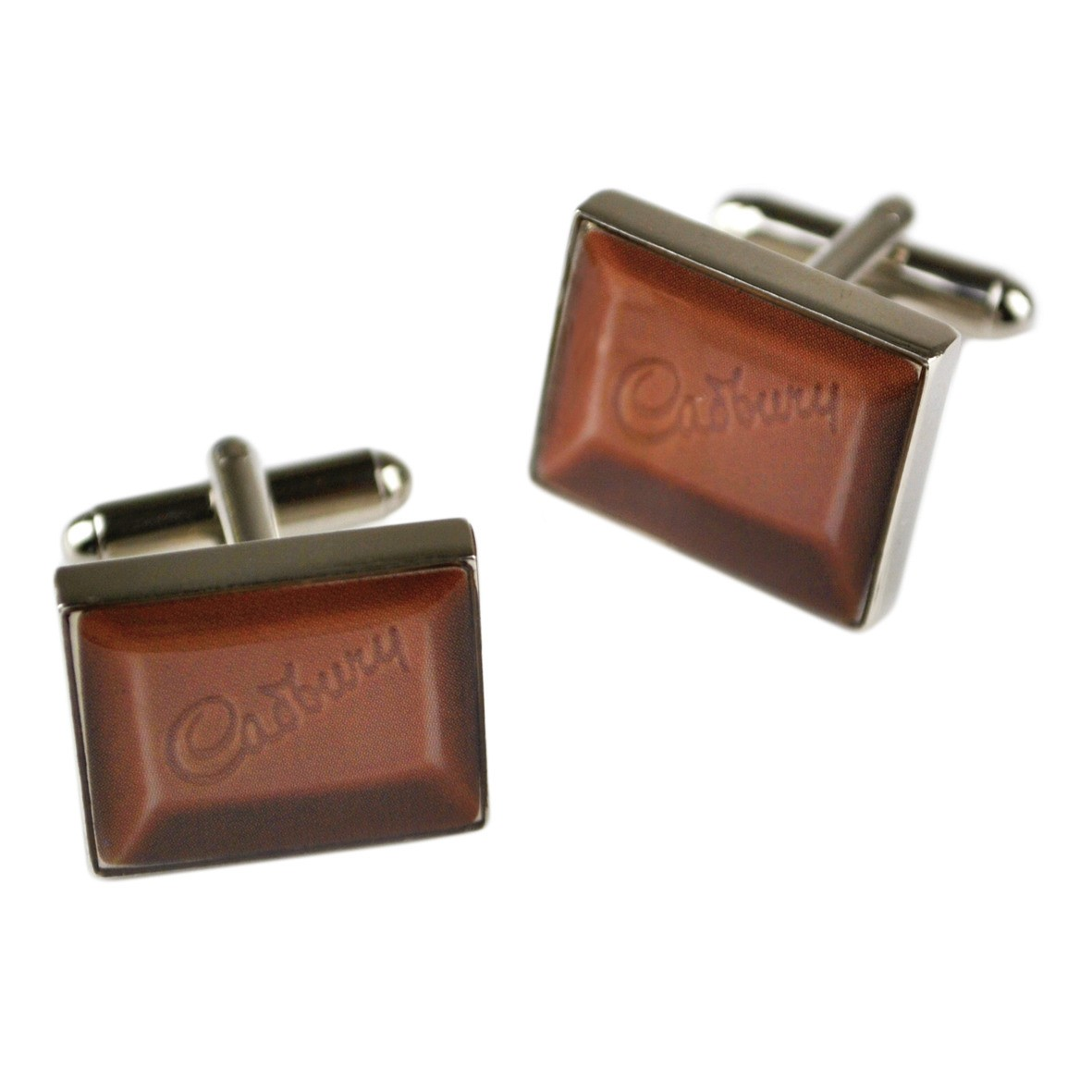 NEW CADBURYS CHOCOLATE CHUNK CUFFLINKS STEEL RETRO ENAMEL VINTAGE KITSCH IN BOX