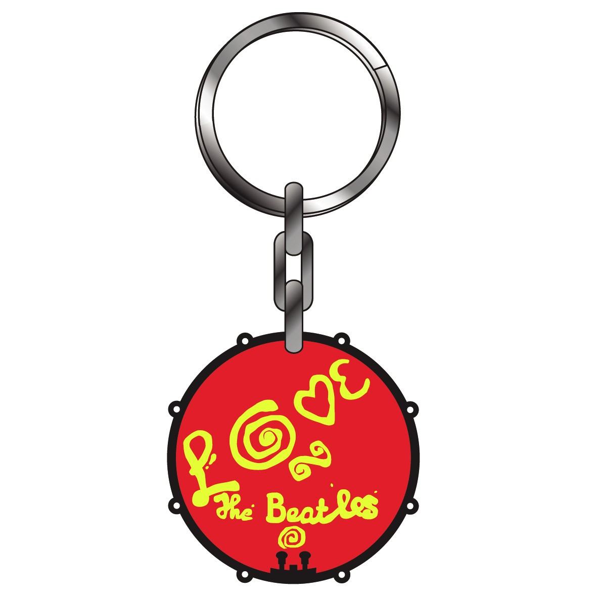 Love The Beatles Thick Metal Keyring