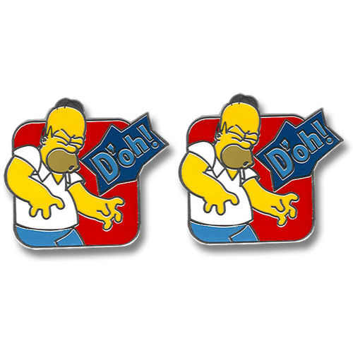 NEW HOMER SIMPSON SQUARE DOH! STEEL CUFFLINKS RETRO SIMPSONS TV