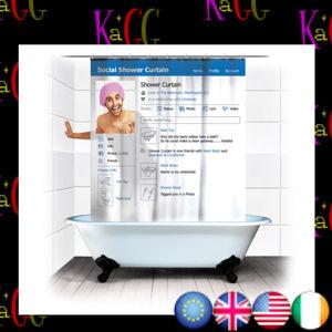 New Social Media Shower Curtain Profile Status Novelty Bathroom