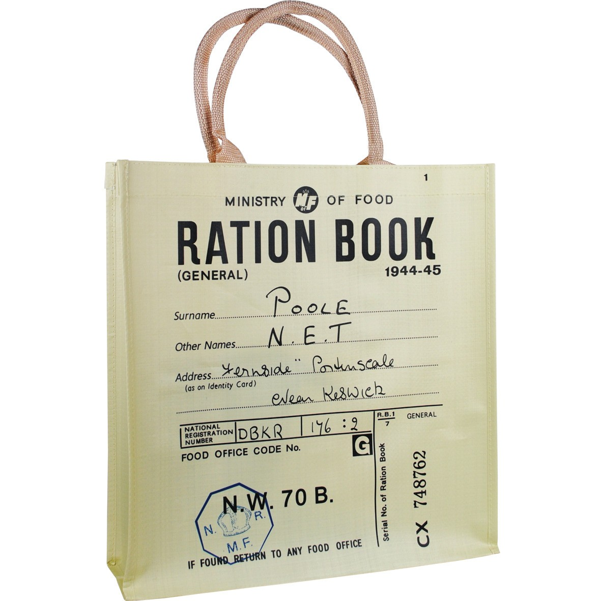 NEW RATION BOOK REUSABLE SHOPPER BAG RETRO VINTAGE WAR SHOPPING OPIE