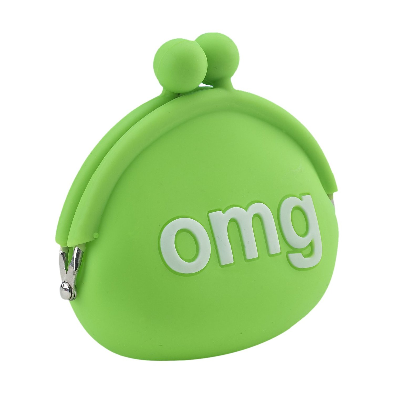 NEW OMG CLUTCH COIN PURSE TEXT SPEAK SMS OH MY GOD SILICONE WALLET GREEN KEYRING