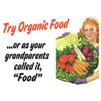 """Try Organic Food? Or As Your Grandparents Called It, """"Food"""" Fridge Magnet"""