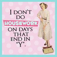 "I Don't Do Housework On Days That End In ""Y"" Single Coaster"