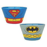 Set of 2 Ceramic Bowls - Batman & Superman Costume Thumbnail 1