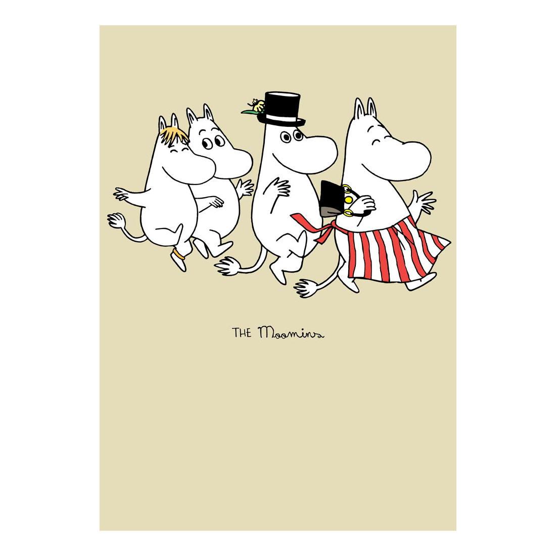 Skipping moomin family greeting card birthday tove jansson