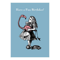 "Alice in Wonderland ""Have a Fun Birthday!"" Flamingo Greeting Card"