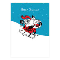 Blue Moomintroll Skiing Christmas Card