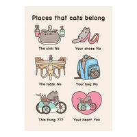 Pusheen Places That Cats Belong Greeting Card