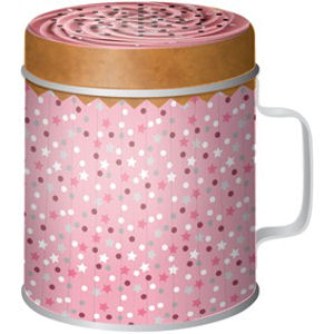 New Pink Cupcake Flour Shaker Tin Canister Kitchen Baking