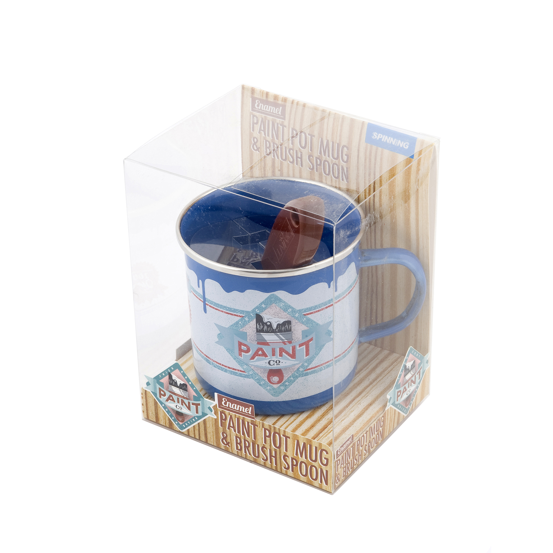New blue paint pot enamel mug and spoon brush set novelty retro camping gift fun - Exterior blue paint set ...