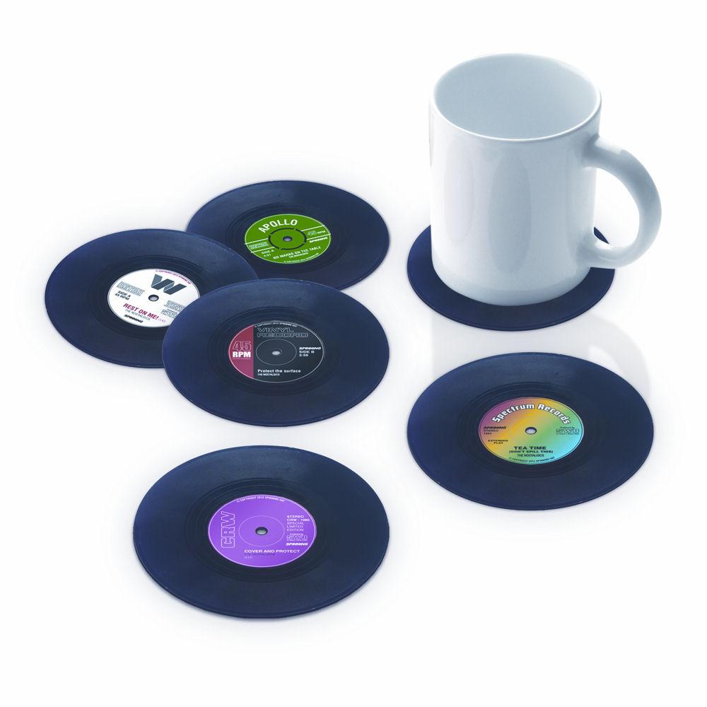 NEW VINYL RECORD COASTER SET 6 DRINKS MATS RETRO MUSIC