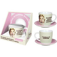 View Item I Believe In Coffee 10oz Cup & Saucer Gift Set
