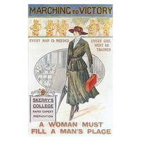 """Marching To Victory """"A Woman Must Fill A Man's Place"""" Postcard"""