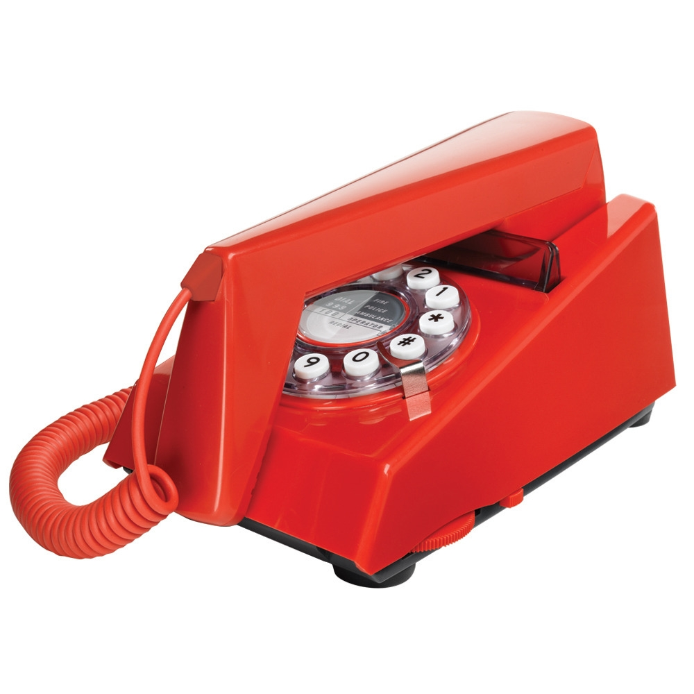 new red trim phone 1970s style push button retro dial. Black Bedroom Furniture Sets. Home Design Ideas
