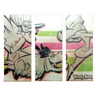 Dick Dastardly, Muttley, & Penelope Pitstop 60cm x 75cm Triptych Canvas