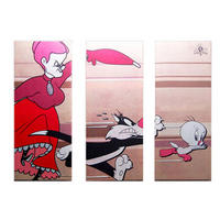 Tweety Pie, Sylvester, & Granny Large Triptych Canvas