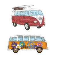 Set of 2 VW Camper Van Mini Jigsaw Puzzles