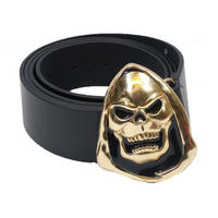 Gold Skeletor Metal Belt Buckle & Faux Leather Belt (One Size)
